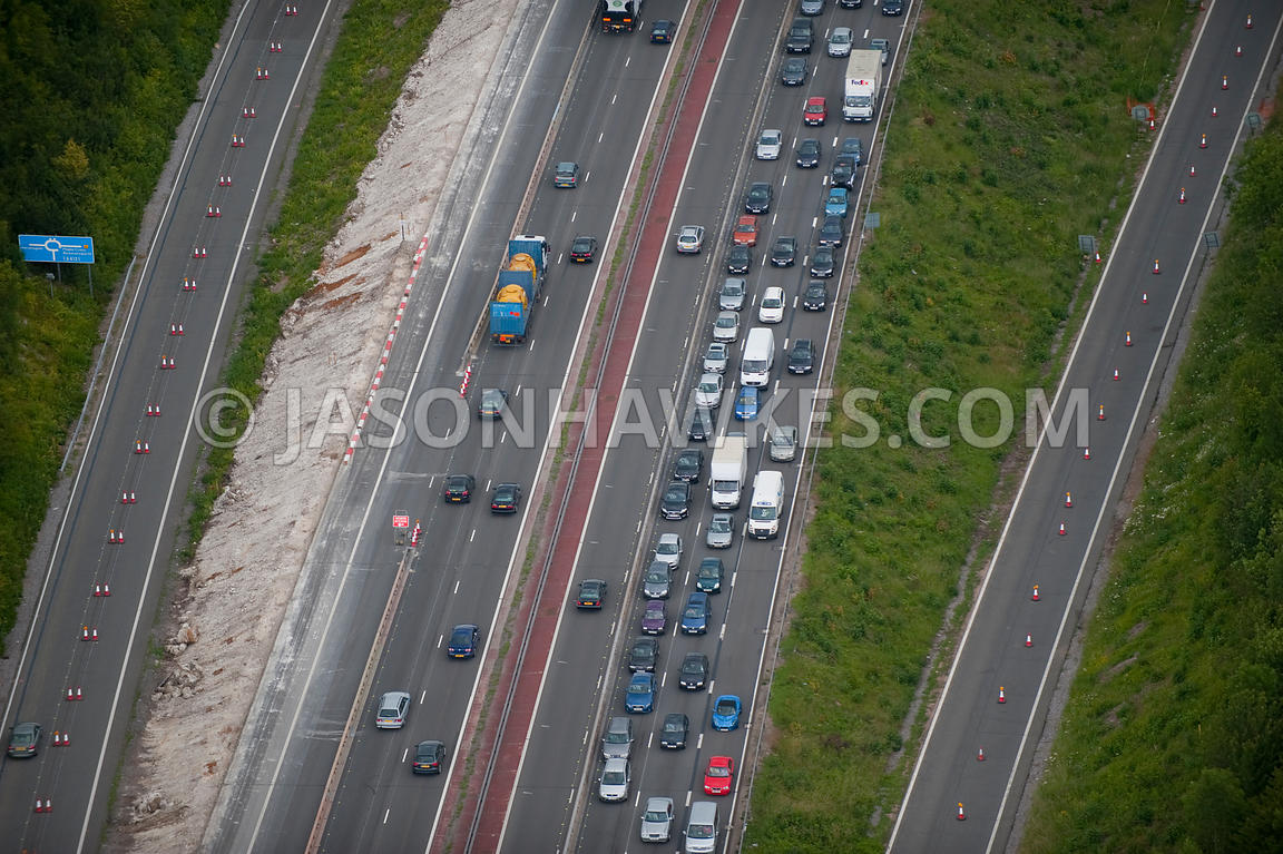 Aerial view of traffic jam on motorway