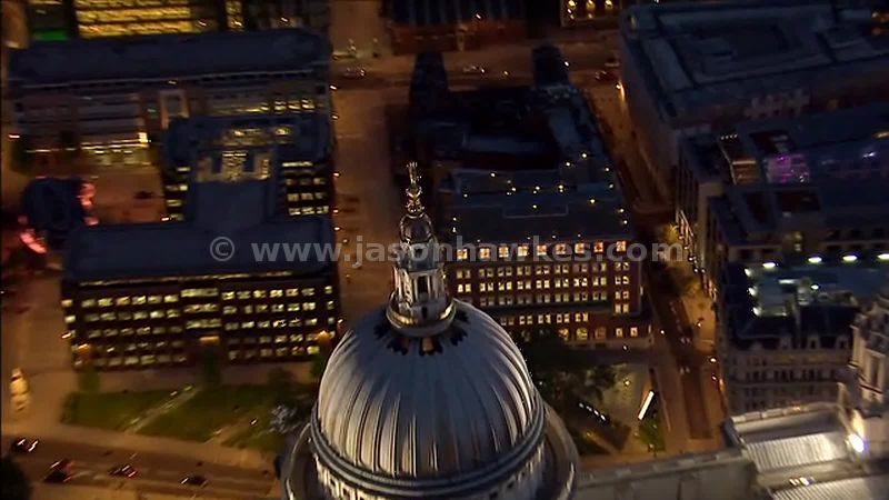 Aerial footage over St Paul's Cathedral at dusk, London, England, UK