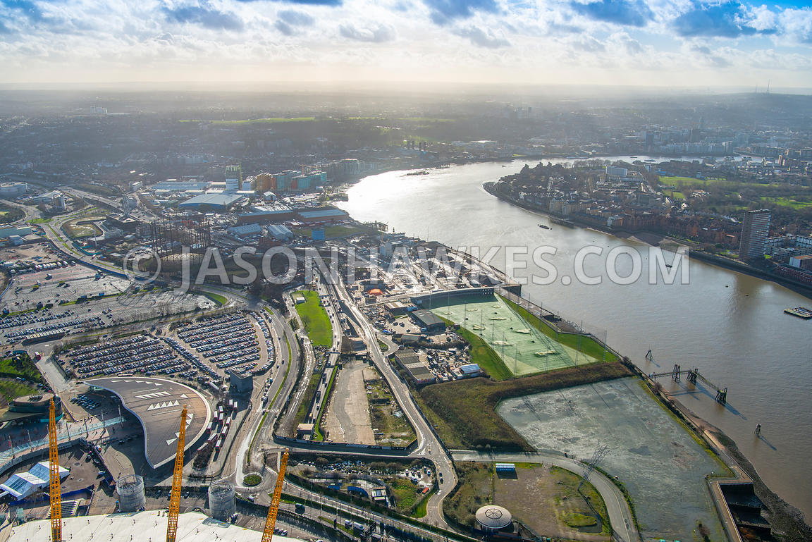 Aerial view of London, Blackwall Tunnel Southern Approach with North Greenwich Station.