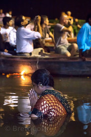 Ganga Aarti, a nightly prayer to the Ganges River that takes place at Dashashwamedh Ghat, Varanasi, India