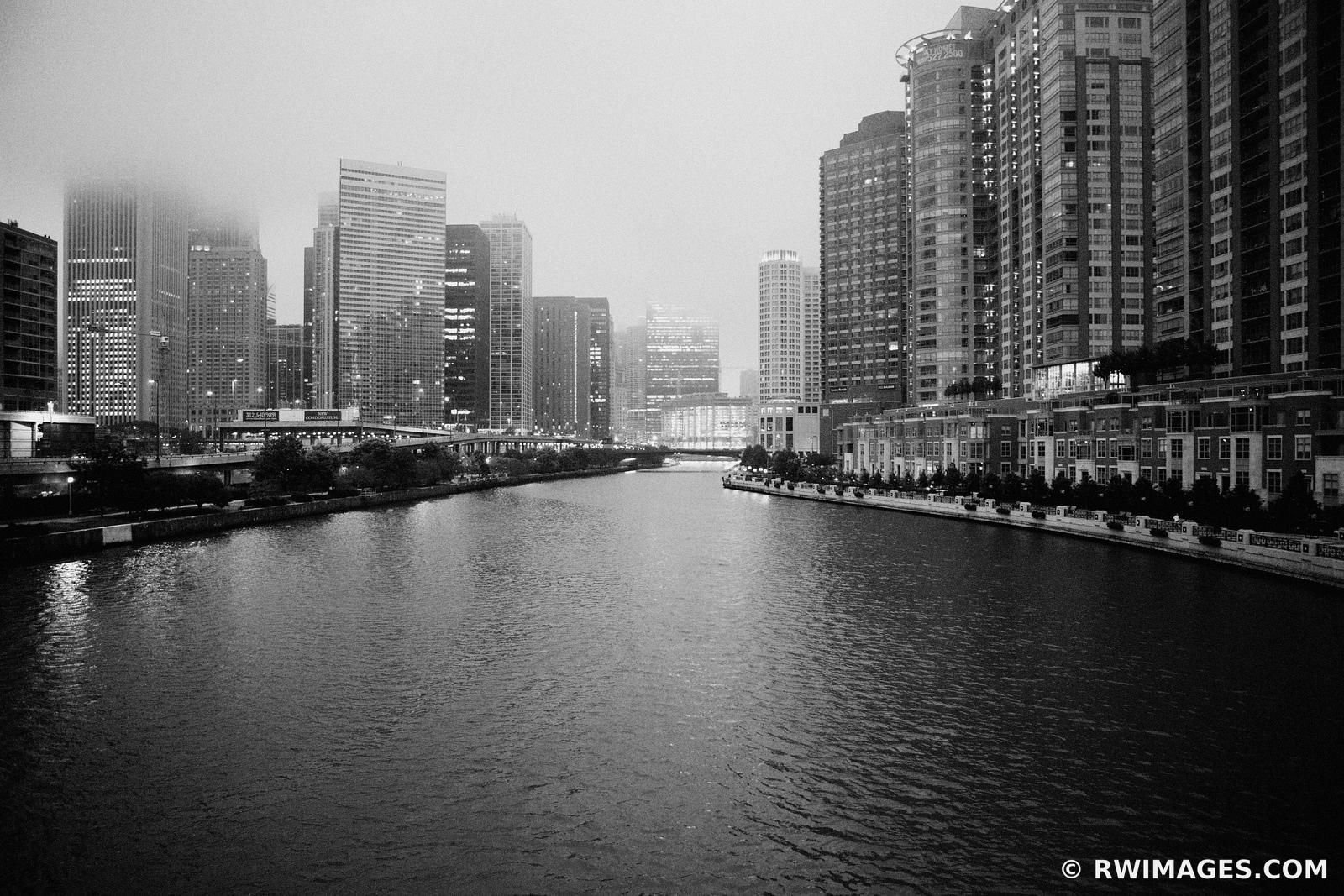 CHICAGO RIVER FOGGY EVENING BLACK AND WHITE