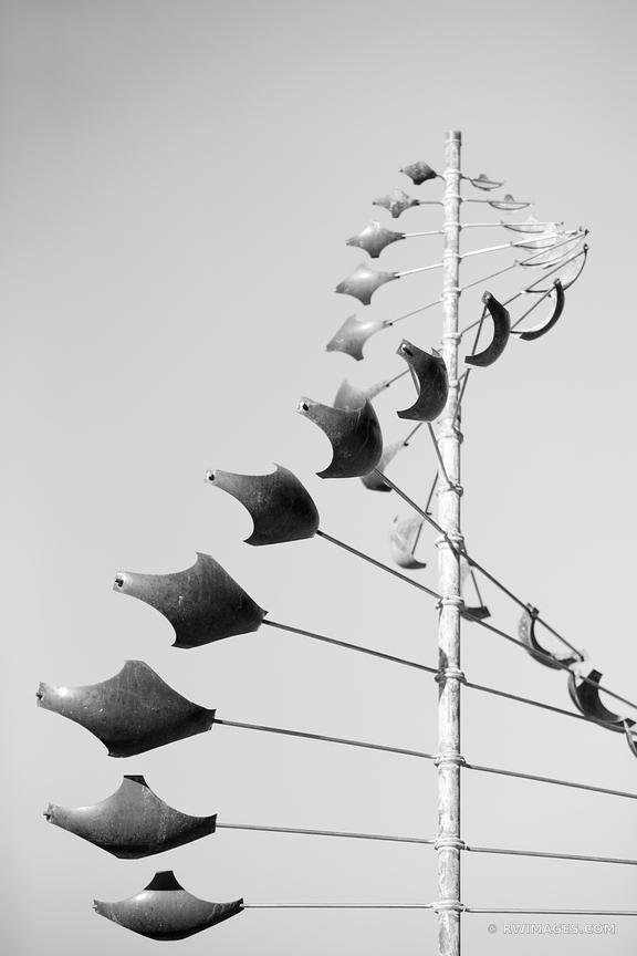WIND SCUPLTURES STREET ART SANTA FE NEW MEXICO BLACK AND WHITE