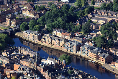riverside apartments along Skeldergate and  the River Ouse in York  Yorkshire