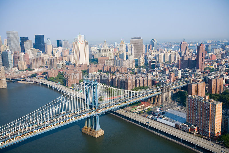 An aerial view of the Manhattan Bridge.  Manhattan, New York City.
