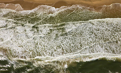 Aerial view of waves on the atlantic coast, near Swakopmund, Namib desert, Namibia, August 2008