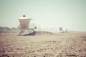 Huntington Beach Lifeguard Tower #1 Retro Photo