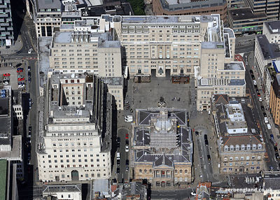 aerial photograph of Exchange Flags  Liverpool Merseyside England UK