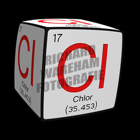 Digital Illustration - Chemical periodic table style tile Cl Chlor (Deutches / German) cubed