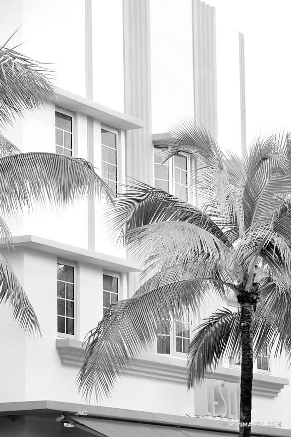 ART DECO ARCHITECTURE MIAMI BEACH FLORIDA BLACK AND WHITE VERTICAL