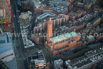 Aerial view of Westminster Cathedral, London