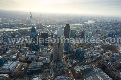 City of London, Heron Tower, aerial view