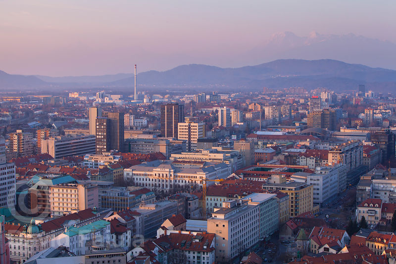 Winter sunset over Ljubljana (Castle view) with the Kamnik-Savinja Alps (Kamniško Savinjske Alpe) in the background