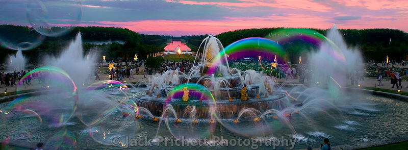 Versailles fountains at sunset