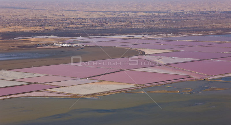 Aerial view of salt pans near the atlantic coast, Walvis Bay, Namib desert, Namibia, August 2008