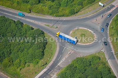 Aerial view of lorry at junction