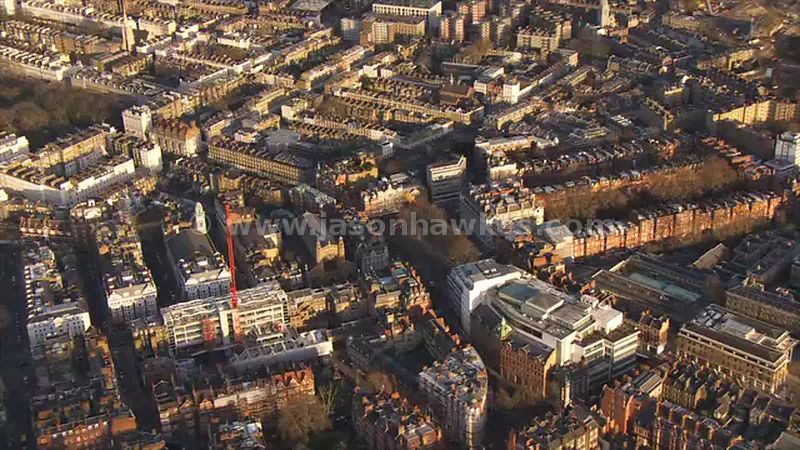 Aerial footage of Sloane Square, London