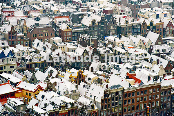 Amsterdam Covered With Snow During The Winter, Noord-Holland