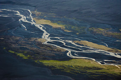 Aerial view of river delta in South Iceland, April 2010