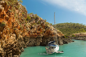 A sailboat anchored near Crocodile Creek in the Australia's Kimberley region.