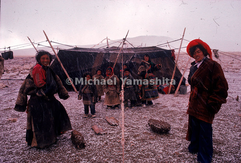 A Tibetan family at an encampment near the sacred source of the Mekong. A yak-skin tent houses Meiga, a guide, Daji, his wife...