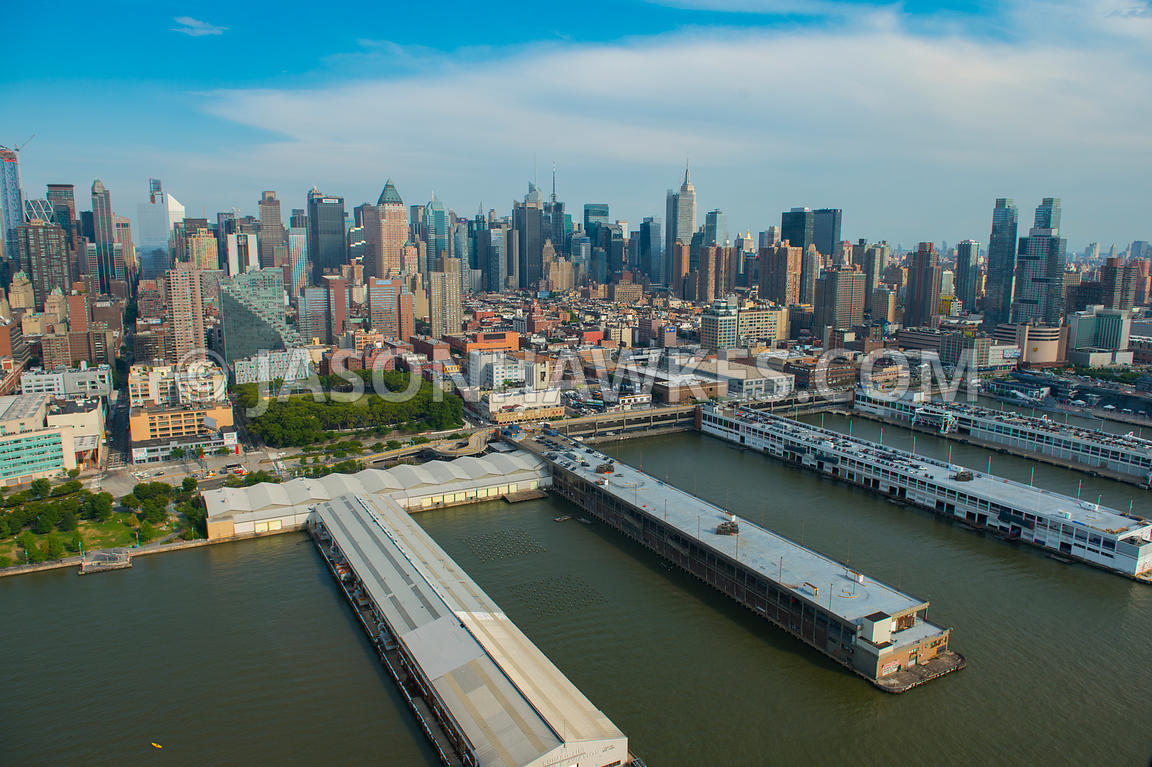 View looking from the Hudson River to Hell's Kitchen, a neighbourhood of Manhattan. Also showing DeWitt Clinton Park