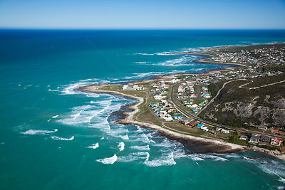 Aerial photograph of Western Cape Province, Cape Agulhas, Indian Ocean, South Africa, August 2010