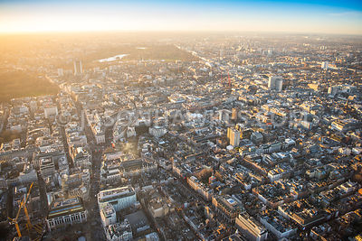 Aerial view of London, Shaftesbury Avenue with Regent Street and Piccadilly towards St James's and Mayfair.