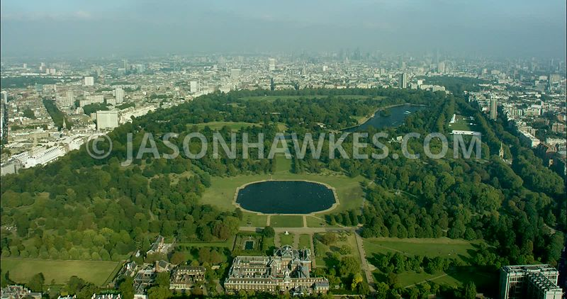 London Aerial Footage of Hyde Park with Serpentine.