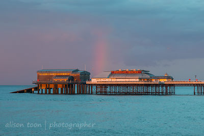 Rainbow, Cromer Pier and clouds