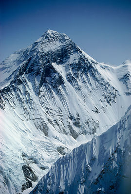 Aerial view of Mount Everest, Nuptse ridge foreground right, Himalayas, Nepal