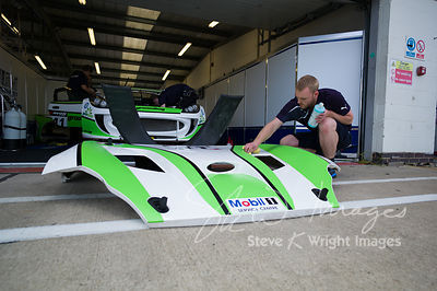 Optimum Motorsport's Ginetta G55 GT4 in the pits, pre-race, at the Silverstone 500 - the third round of the British GT Champi...