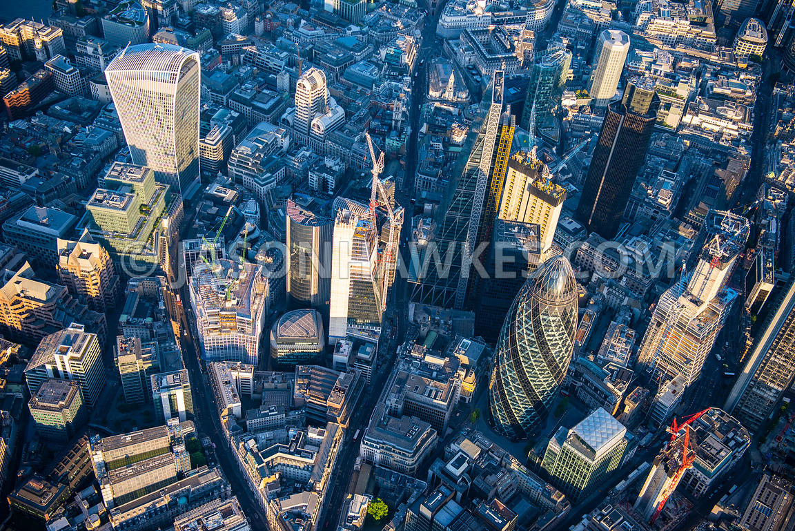 Aerial view of London, 30 St Mary's Axe with 20 Fenchurch Street and Financial district.