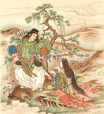 Japanese painting of samurai with a woman