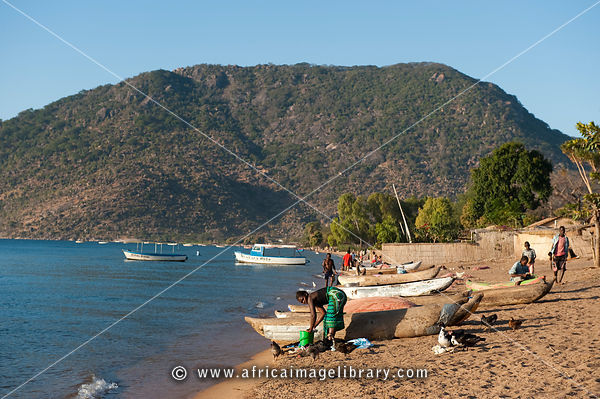 Beach on Lake Malawi, Chembe Village, Cape Maclear, Malawi