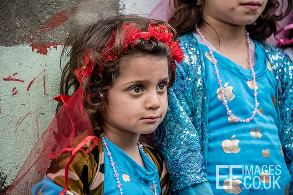 All Dressed Up For Newroz - A Little Girl Poses With Her Sisters