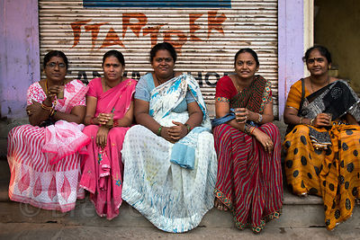 Ladies hanging out at Dashashwamedh Ghat, Varanasi, India