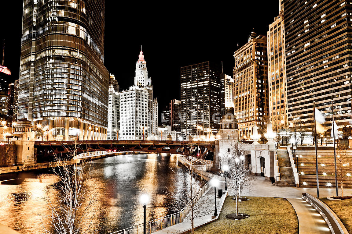 Chicago at Night at Wabash Avenue Bridge