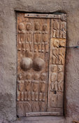 Traditionally carved dogon door, Ireli village below Bandiagara escarpment, Dogon Country, Mali
