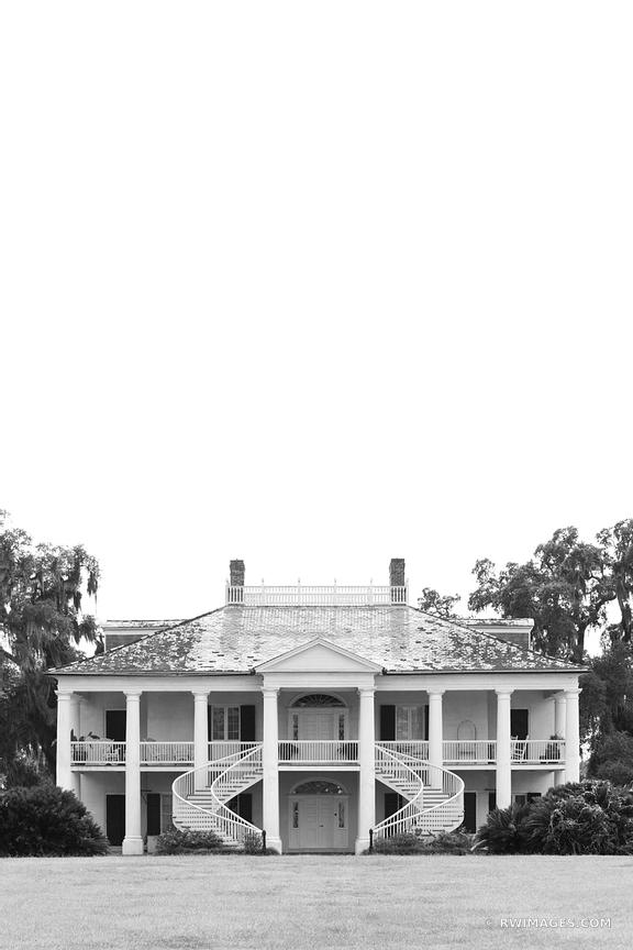 EVERGREEN PLANTATION LOUISIANA BLACK AND WHITE VERTICAL