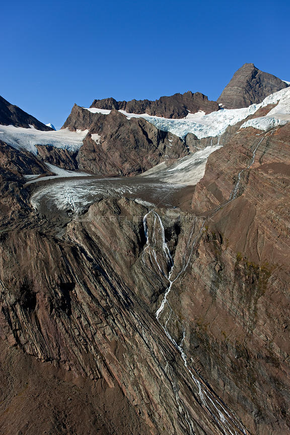 Aerial view of northern part of Hamberg Glacier, South Georgia, March 2011