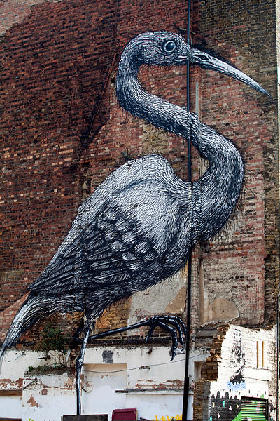 UK - London - A giant heron on a wall pained by street artist Roa, Hanbury Street. Spitalfields