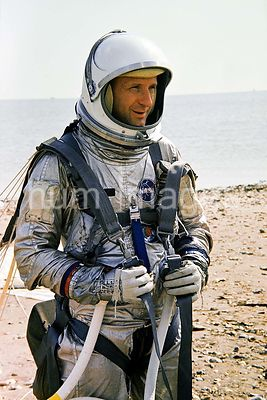 (23 Aug. 1965) --- Astronaut Thomas P. Stafford, Gemini-6 prime crew pilot, stands ready to take part in parasail training in...
