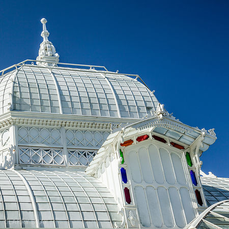 Graphic image  of Golden Gate Park conservatory in San Francisco, California, USA