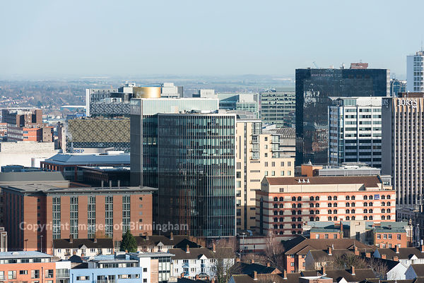 Office buildings in Birmingham, as seen from the Hagley Road.