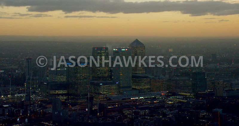 Aerial footage of Canary Wharf at dusk