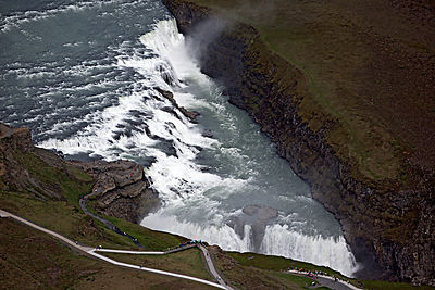 Aerial view of Gullfoss waterfall, South West Iceland, June 2014.