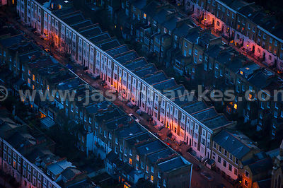 Aerial view of houses at night, Islington, London