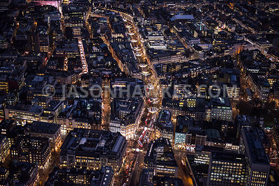 Aerial view of London, Oxford Street and Regent Street at night.