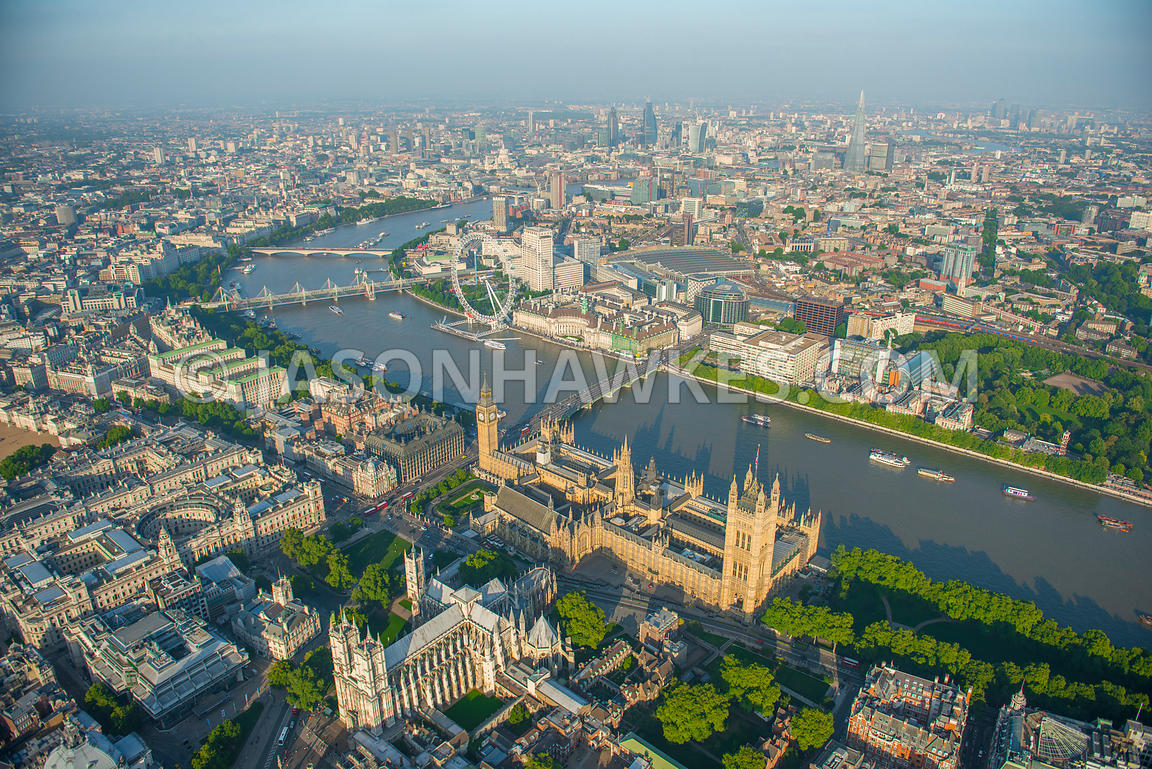 Aerial view of the Houses of Parliament, Westminster, London