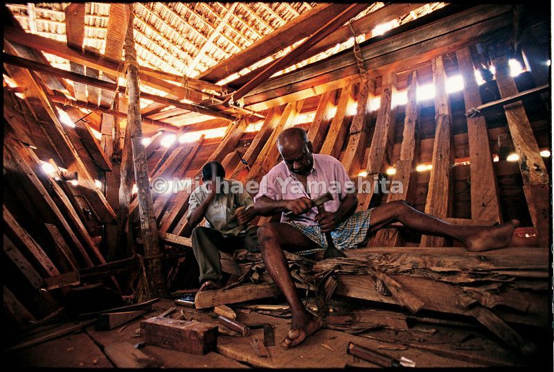 Craftsmen in the dhow yard in Beypore, Kerala, still build ships the old-fashioned way - by hand, out of Murmese teak without...